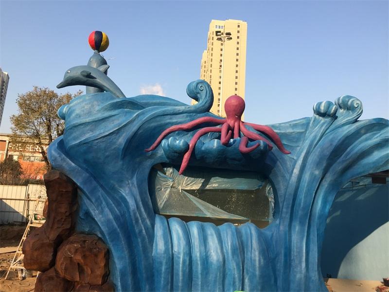 郑州一海洋馆制作门头水泥造型工程